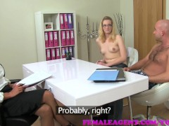 FemaleAgent MILF fucks hot girls boyfriend in front of her on the couch