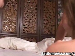 Redhead hottie Brandi Lyons licks and eats two asses for cum in mouth