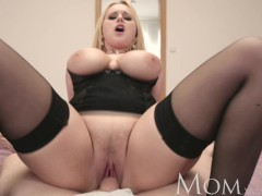 MOM Single MOM loves filming her big breasts getting covered in cum