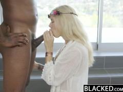 BLACKED Blonde Fashion Model Addison Belgium Squirts on Huge Black Dick