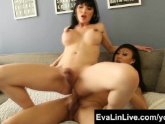 Sexy trannies Eva Lin and Venus Lux Asian Shemale FuckFest