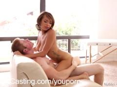 Slide your cock between her big natural boobs