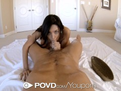 Oiled up Serena Torres sucks hard on a big dick - POVD