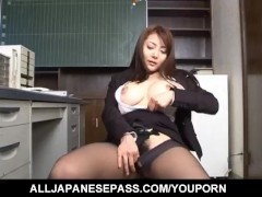 Mei Sawai Asian pleasures her hairy pussy with fingers at office