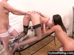Lesbo ass fisting in stockings