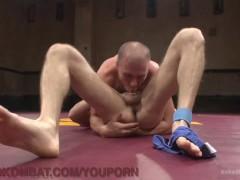 Naked Hunks Wrestle For Dominance