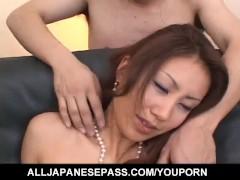 Nana Nanami Asian gets many vibrators on body from masked fellows