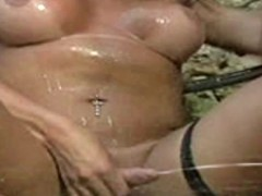 Dark skinned latina tranny squirts jizz like a cum fountain
