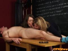 Schoolgirls cfnm blowjob