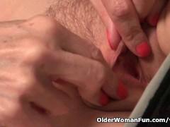 Skinny grandma Bossy Rider strips off...