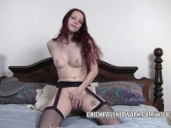 Redhead wife Kajira is masturbating in a selfshot clip