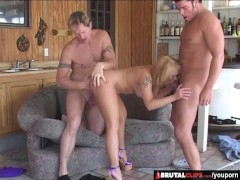 BrutalClips - Blondie Wrecked by Two Cocks