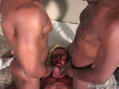 Hairy middle aged man gets fucked by blacks