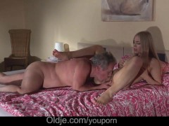 Gorgeous blonde girlfriend crazy fucking fat grandpa after romantic blowjob