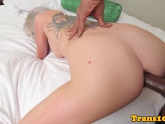 Facefucked tranny bottom getting barebacked