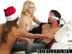 Threeway Gift For Step-Dad Is Teen Daughter And BFF