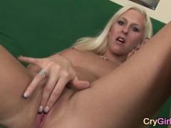 blonde girl crying after emotional orgasm