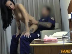 Fake Cop Hotel whore fucks hung security guard