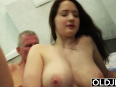 Old and young hot wife likes to get fucked by old man cock she is so horny