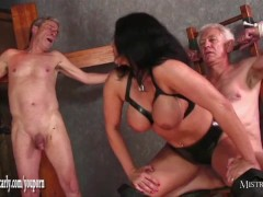 Busty Mistress Carly feeds cuckold slave her hot spunky pussy after fucking big cock