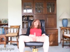 Horny tranny slut Luci May masturbates with powerful vibrator toy and wanks big cock