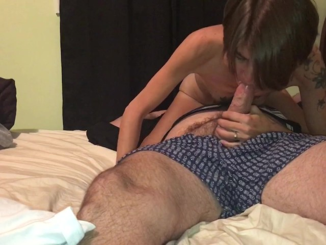 Skinny Tattooed Wife Having Oral Orgasm Then Rides Before Creampied