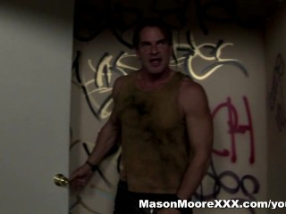 Mason Moore fucks a guy in a dirty bathroom