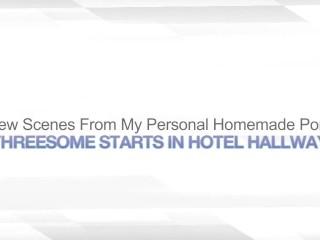 THREESOME STARTS IN HOTEL HALLWAY – PUBLIC SEX