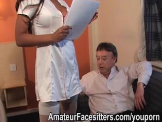 Long nippled black lady facesits an older man