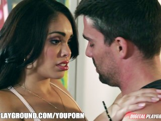 Slutty Latina Selena Rose deepthroats and rides hard cock
