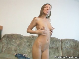 Lusty girl having her first anal experience
