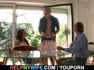 Old husband watches his young wife takes big meat