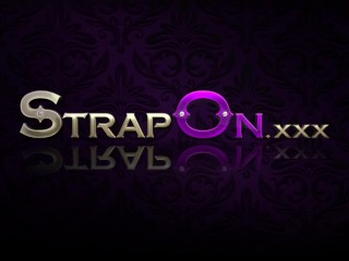 StrapOn Black fishnets and a purple strapon sex toy