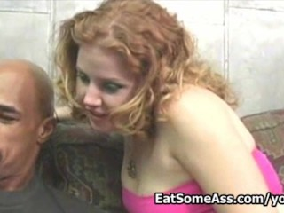 Redhead porn cutie Cherry Poppens eats black ass interracial fucks huge cock  then gets cum on mouth