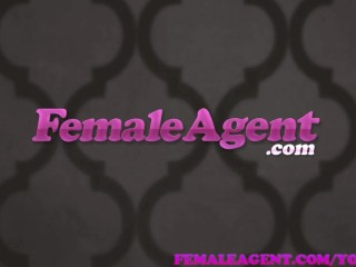 FemaleAgent MILF agent fucks busty beauty to orgasm with a strap on dildo