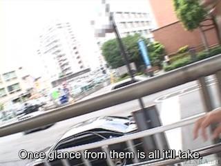Subtitled extreme Japanese public nudity vibrator play