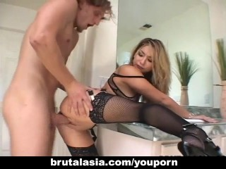 Tight ass blonde bitch getting plowed hard
