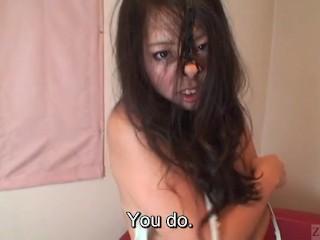 Subtitled bizarre Japanese facial destruction blowjob