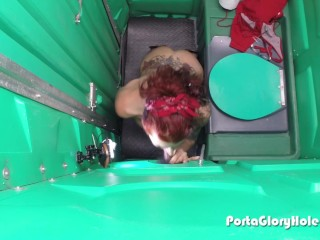 Porta Gloryhole Mature Redhead slurping cocks