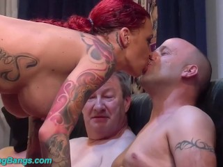 redhead tattooed Angel Sky gangbanged