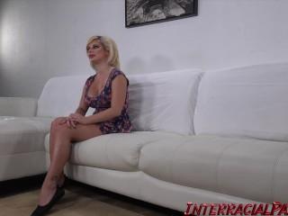 Sara gets stuffed with a massive black cock!