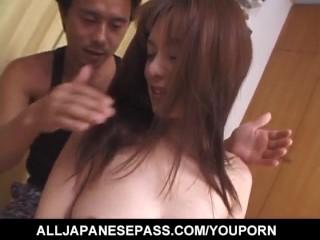Huge tits babe Yuki Tsukamoto gets her melon hooters fondled erotically