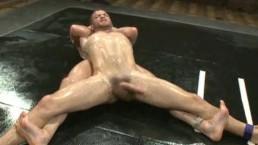 Muscle studs oil wrestling...