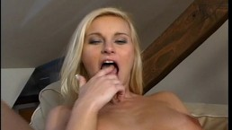 Stuffing her holes with...