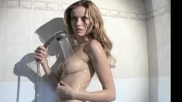 French model under shower...