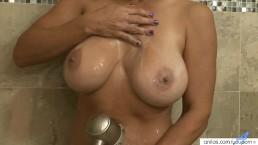 Busty hirsute milf shower...