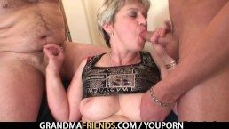 Oldie takes two cocks...