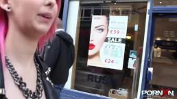 Pink hair slut flashing...